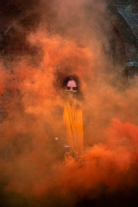 Orange smoke grenade photography session Portsmouth